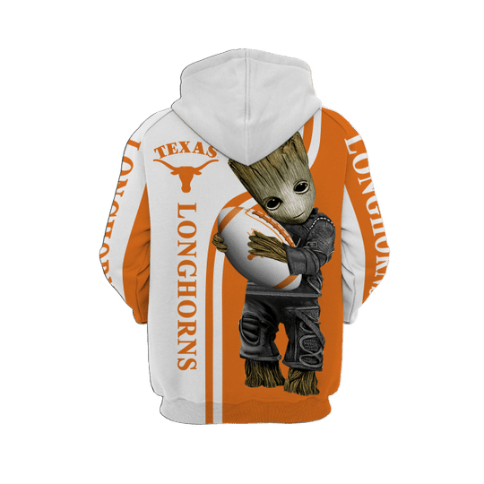 Baby Groot Texas longhorns 3d all over print hoodie - LIMITED EDITION