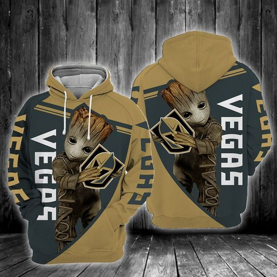 Baby Groot Vegas golden knights 3d all over print hoodie
