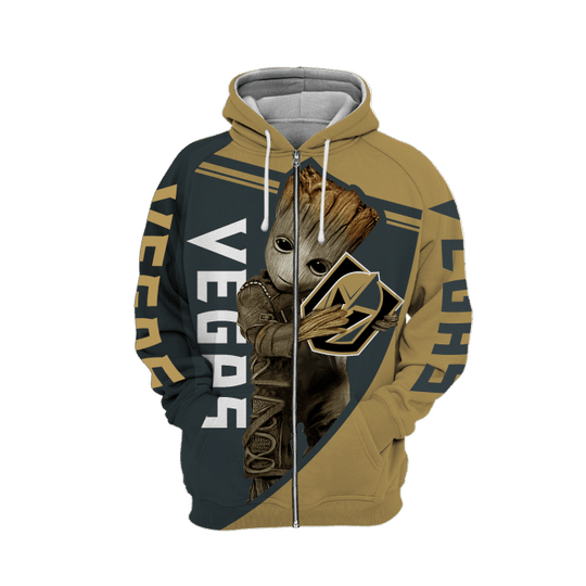 Baby Groot Vegas golden knights 3d all over print hoodie - LIMITED EDITION