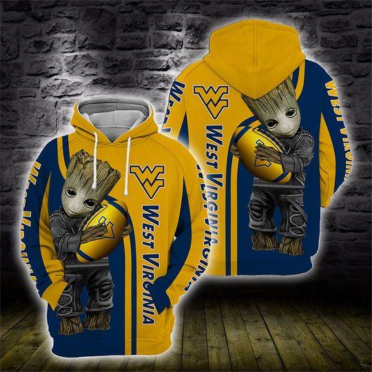 Baby Groot West virginia mountaineers 3d all over print hoodie