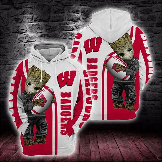 Baby Groot Wisconsin badgers 3d all over print hoodie