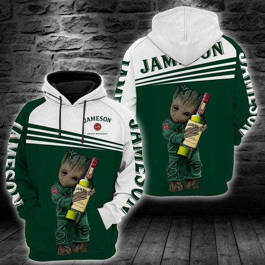 Baby Groot jameson irish whiskey 3d all over print hoodie1