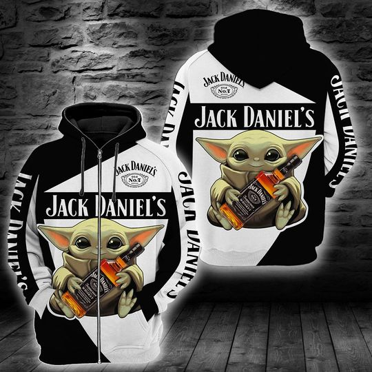 Baby Yoda Jack daniel's 3d all over print hoodie1