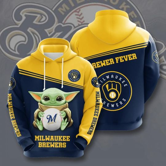 Baby Yoda Milwaukee brewers 3d all over print hoodie