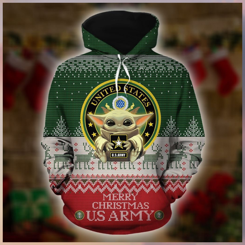 Baby Yoda US Army Merry Christmas 3d Hoodie - LIMITED EDITION