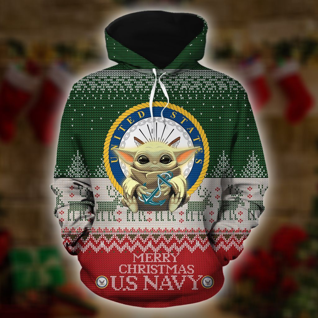 Baby Yoda US Navy Merry Christmas 3d Hoodie - LIMITED EDITION