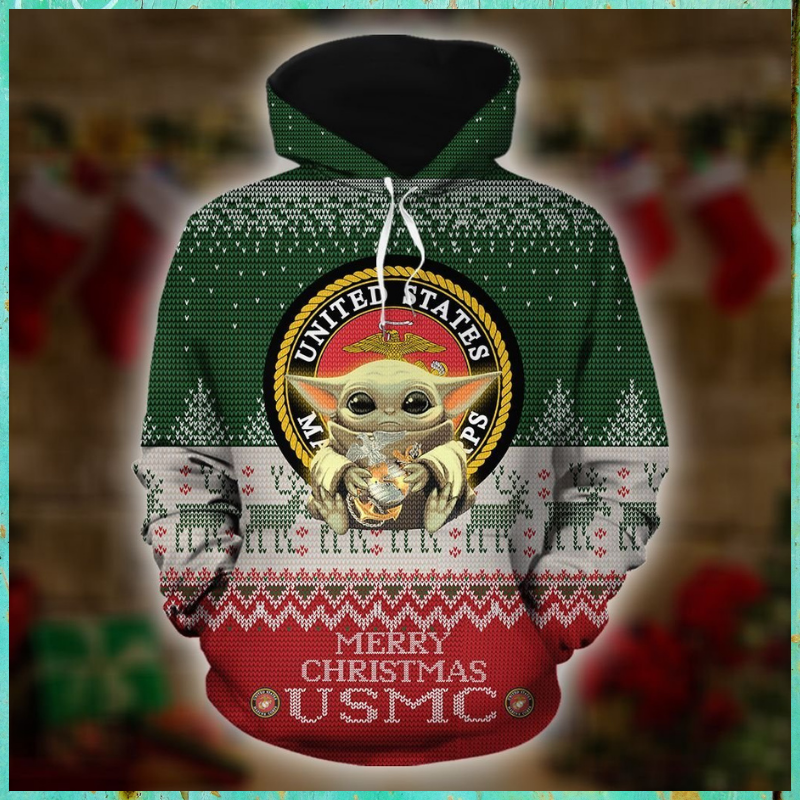 Baby Yoda United States Marine Corps Merry Christmas 3d Hoodie - LIMITED EDITION