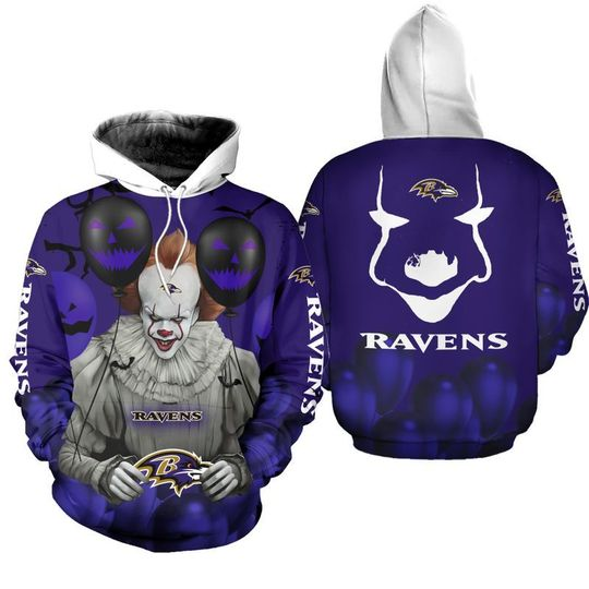 Baltimore ravens pennywise the dancing clown it halloween 3d all over print hoodie - LIMITED EDITION
