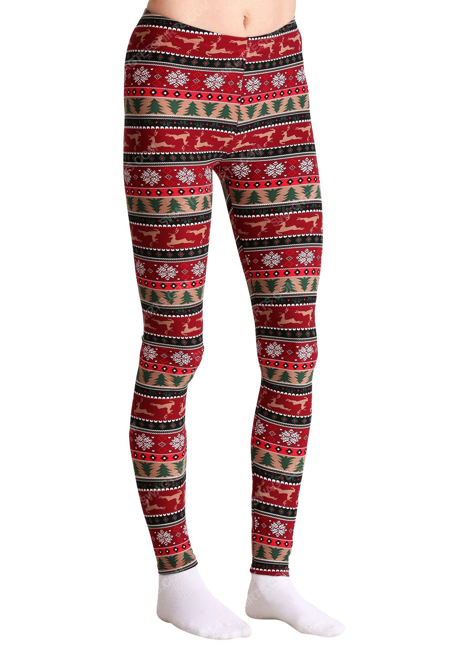 Christmas holiday reindeer pattern full print leggings 1