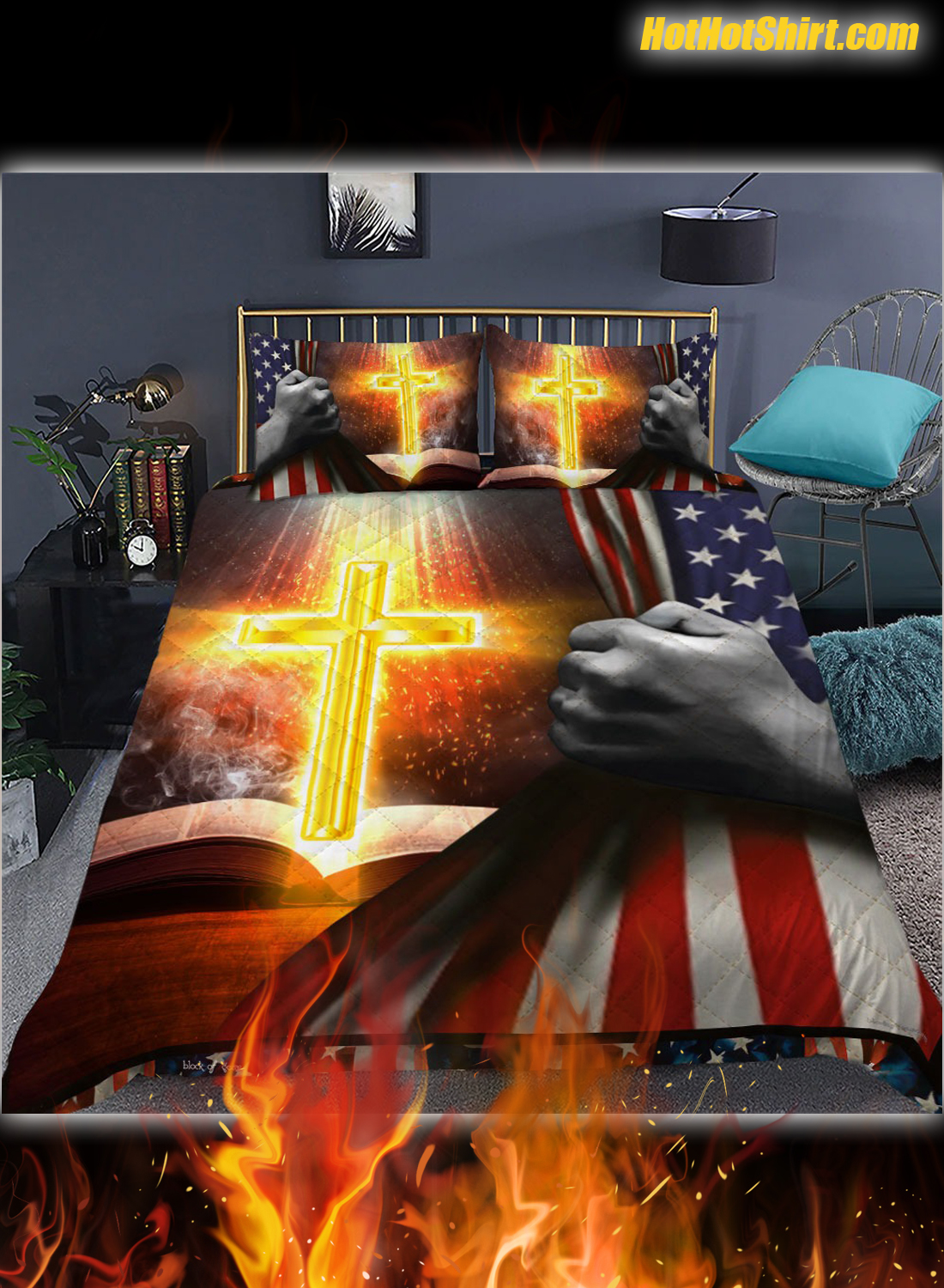 Bible With Bright Cross Bedding Set