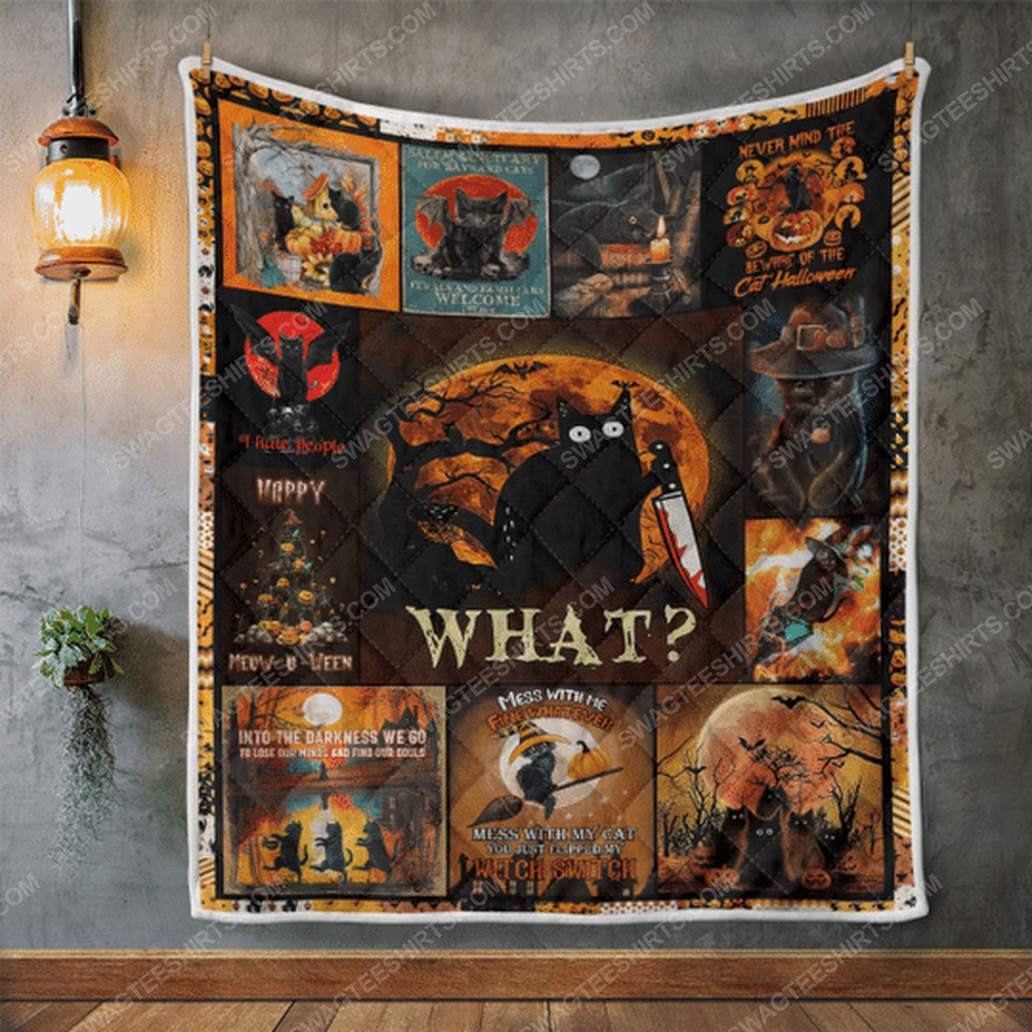 Black cat with knife what halloween blanket 2
