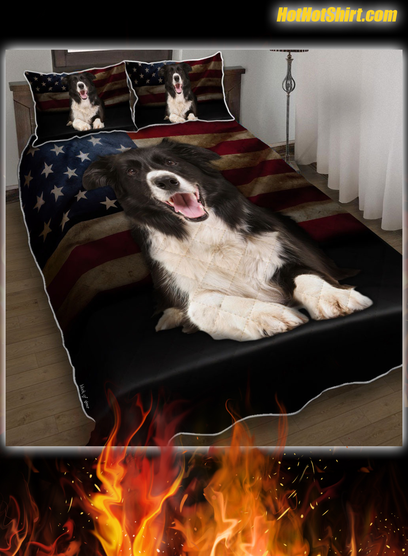 Border Collie American Flag Bedding Set 1