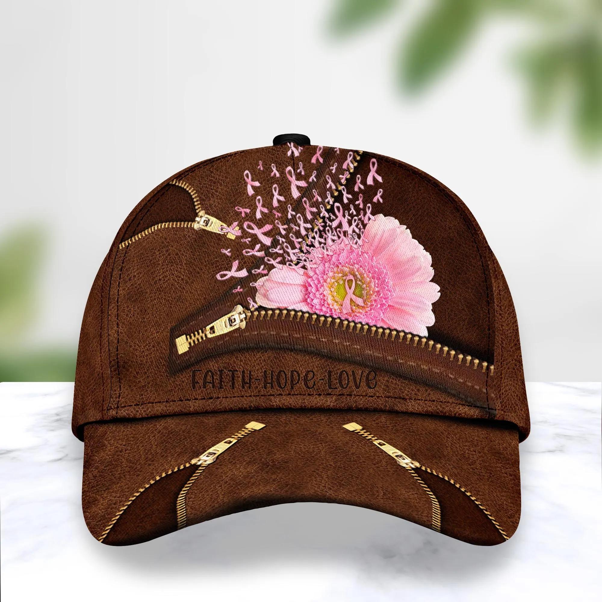 Breast Cancer Pink Flower Hat Cap