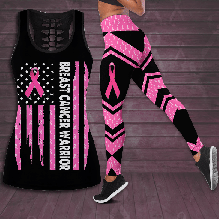 Breast Cancer Warrior Hollow Tank Top And Leggings - LIMITED EDITION