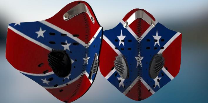 Confederate flag filter face mask