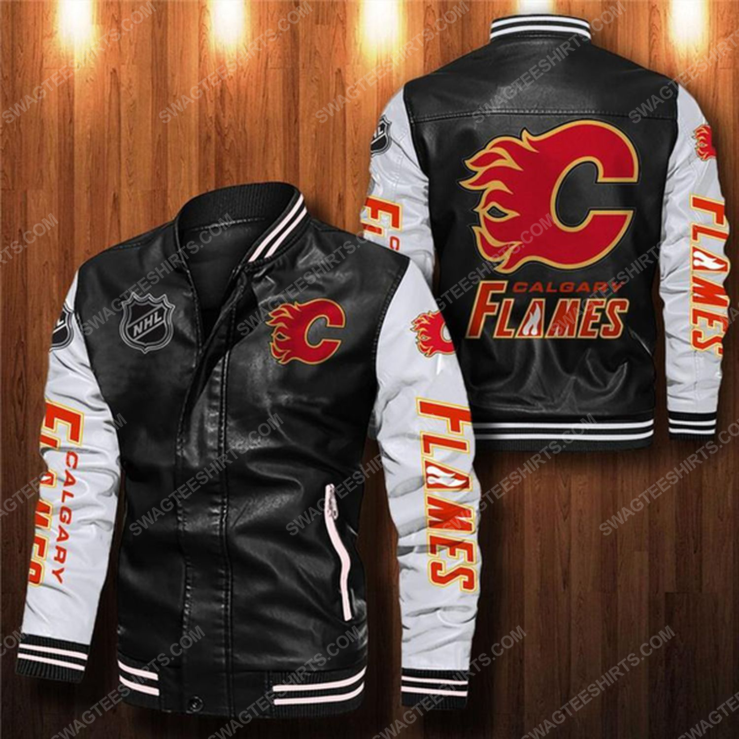 Calgary flames all over print leather bomber jacket - white
