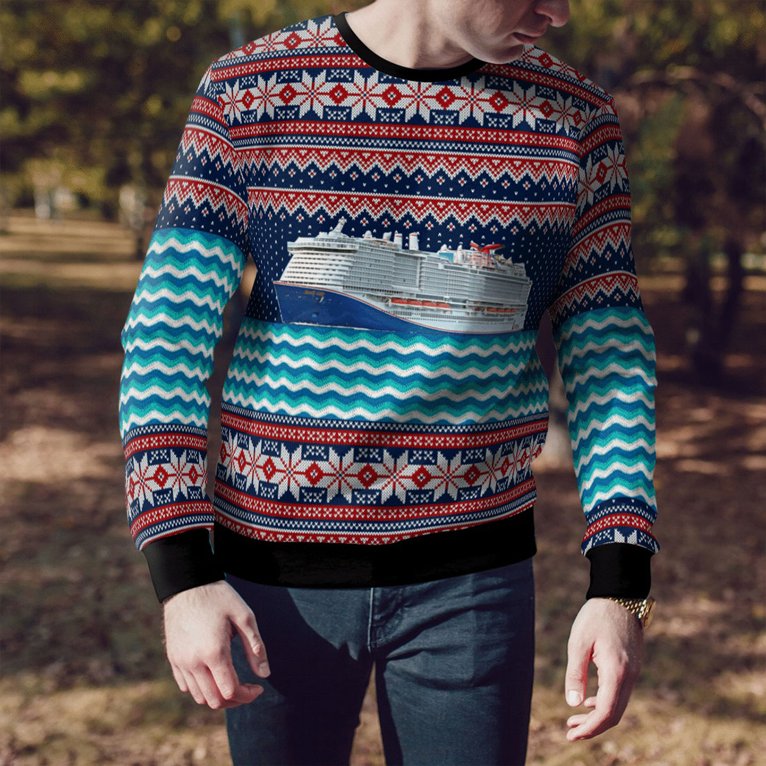 Carnival's mardi gras all over print sweater
