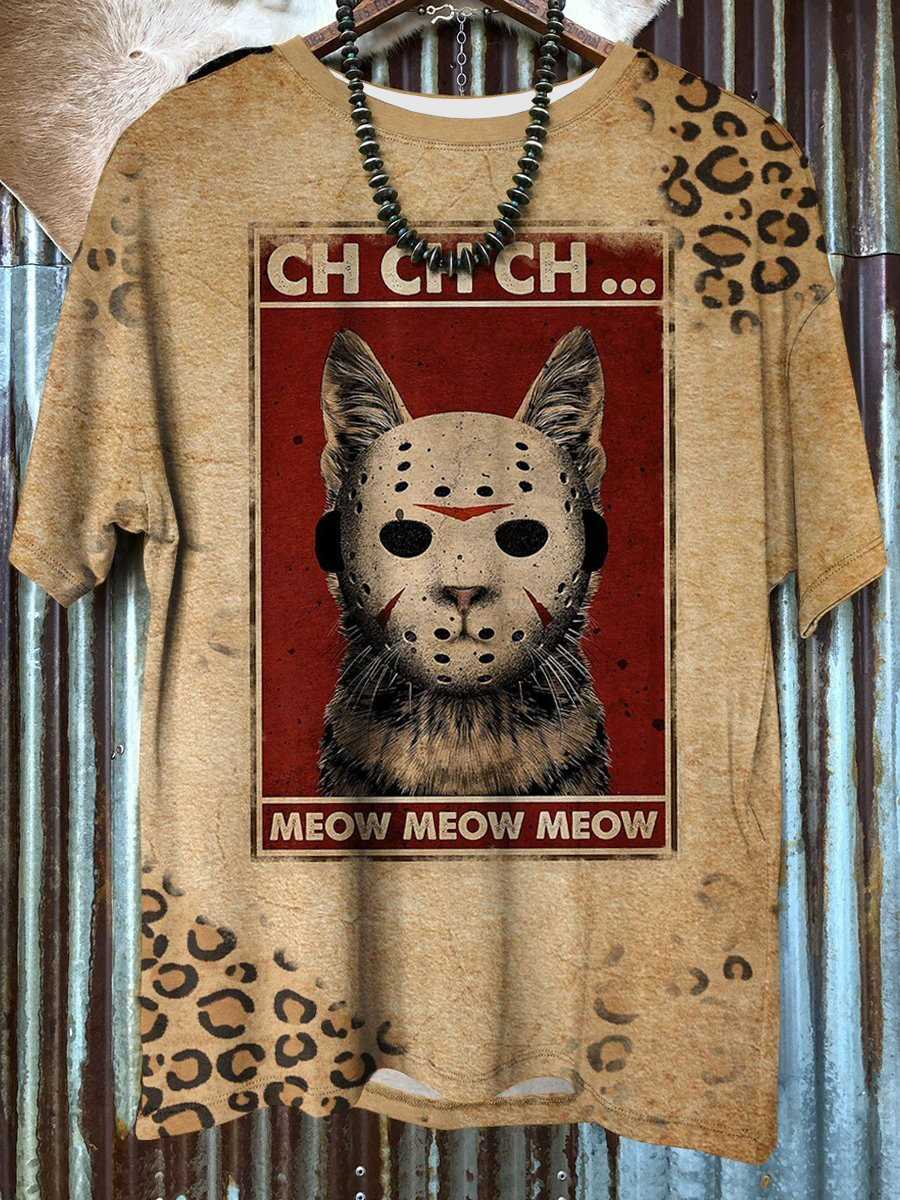 [NEW TREND] Cat Meow Vintage Scary Halloween 3D Unisex Shirt - Hothot 090921