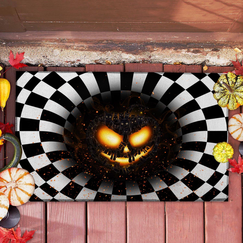 Cat pumpkin illusion doormat