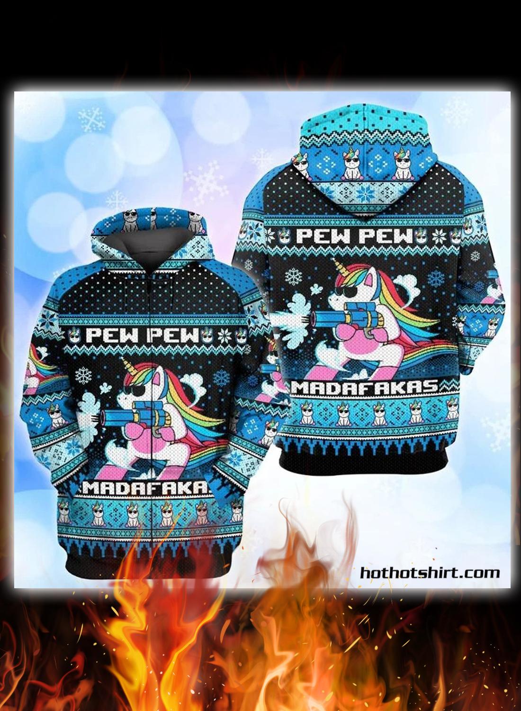 Unicorn pew pew madafakas ugly christmas sweater 2
