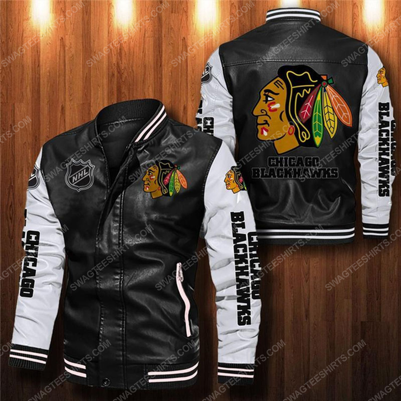 Chicago blackhawks all over print leather bomber jacket - white