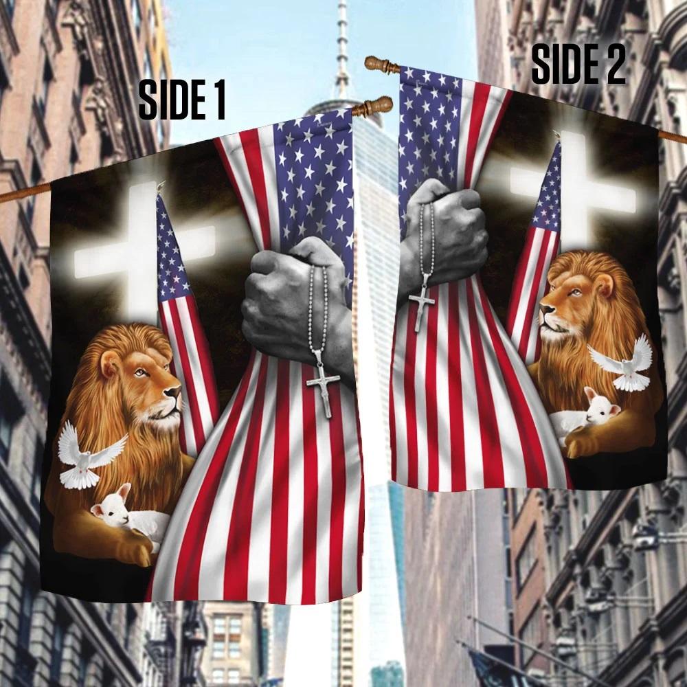 Christian faith lion lamb pigeon American flag