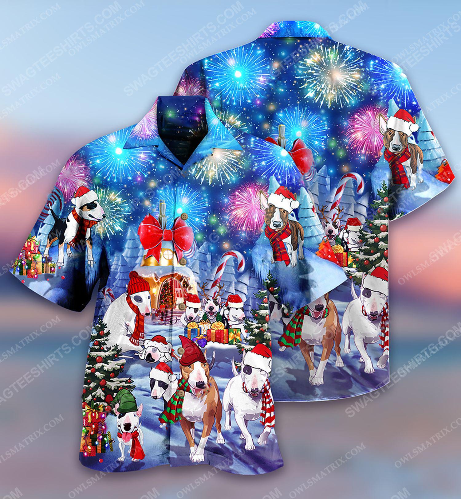 Christmas holiday and bull terrier dog full print hawaiian shirt 1 - Copy (2)