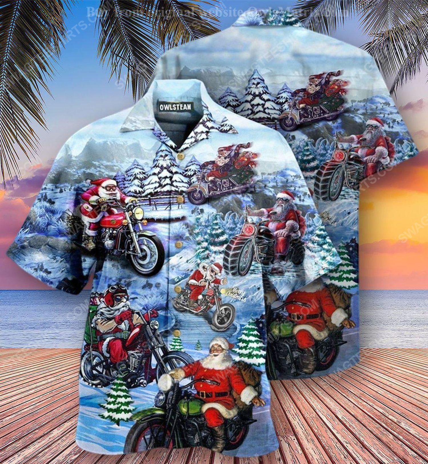 Christmas holiday and santa biker full print hawaiian shirt 1 - Copy (2)