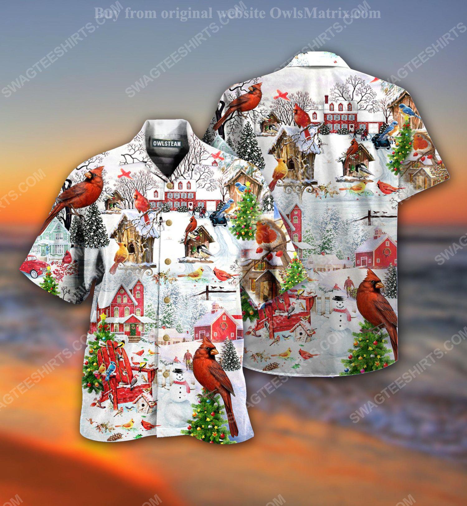 Christmas holiday cardinal bird full print hawaiian shirt 1 - Copy (2)