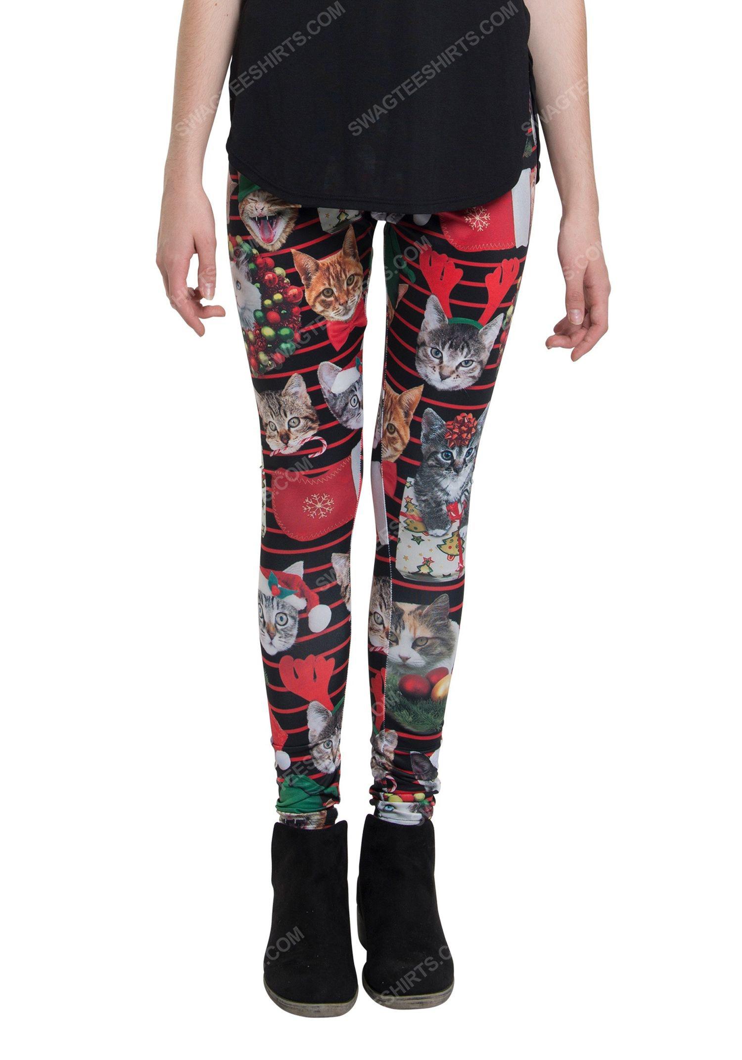 Christmas holiday cat xmas full print leggings 1