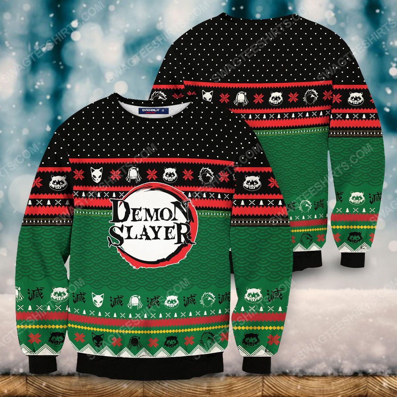 Christmas holiday demon slayer full print ugly christmas sweater 1