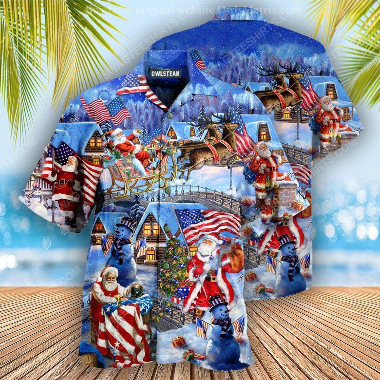 Christmas holiday and santa skull full print hawaiian shirt