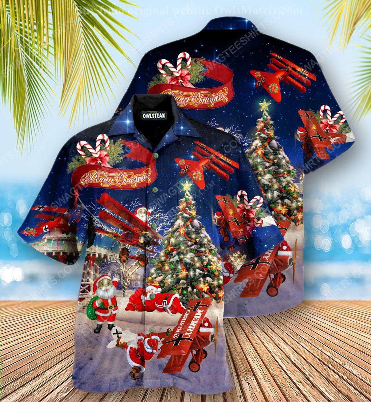 Christmas holiday santa claus riding airplane hawaiian shirt 1 - Copy (2)