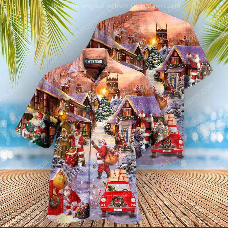 Christmas holiday santa is delivering love full print hawaiian shirt 1 - Copy (2)