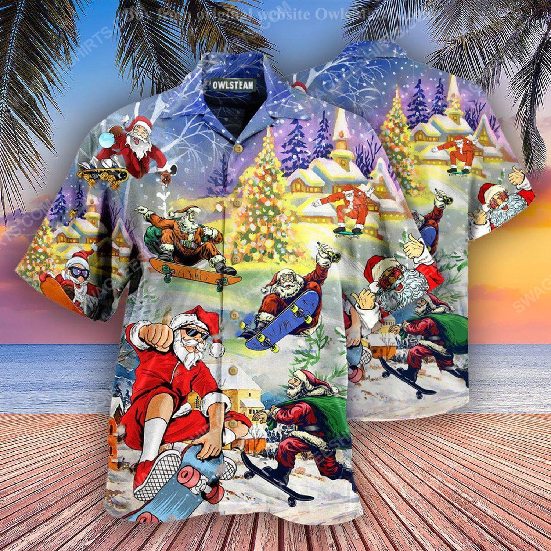 Christmas holiday santa jumping on skateboard full print hawaiian shirt 1 - Copy (2)