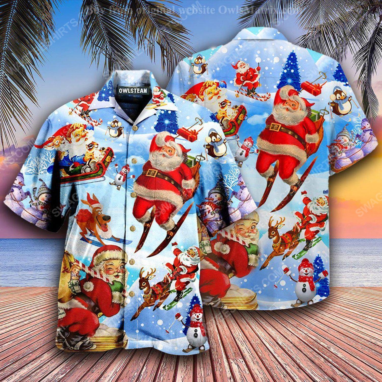 Christmas holiday santa skiing full print hawaiian shirt 1 - Copy (2)