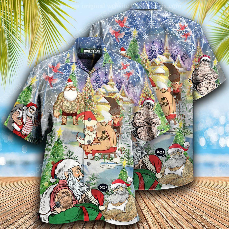 Christmas holiday santa with tattoo full print hawaiian shirt 1 - Copy (2)