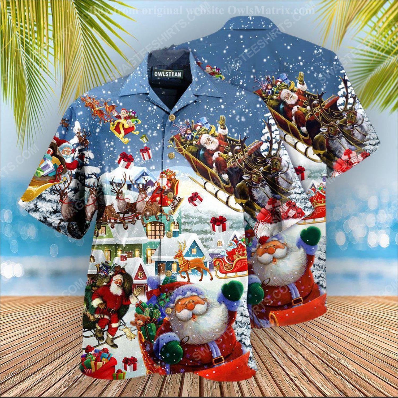 Christmas holiday santa's sleigh and reindeer hawaiian shirt 1 - Copy (2)