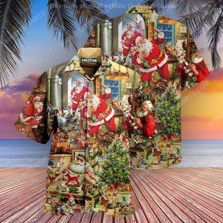 Christmas holiday santa's toy workshop full print hawaiian shirt 1 - Copy (2)
