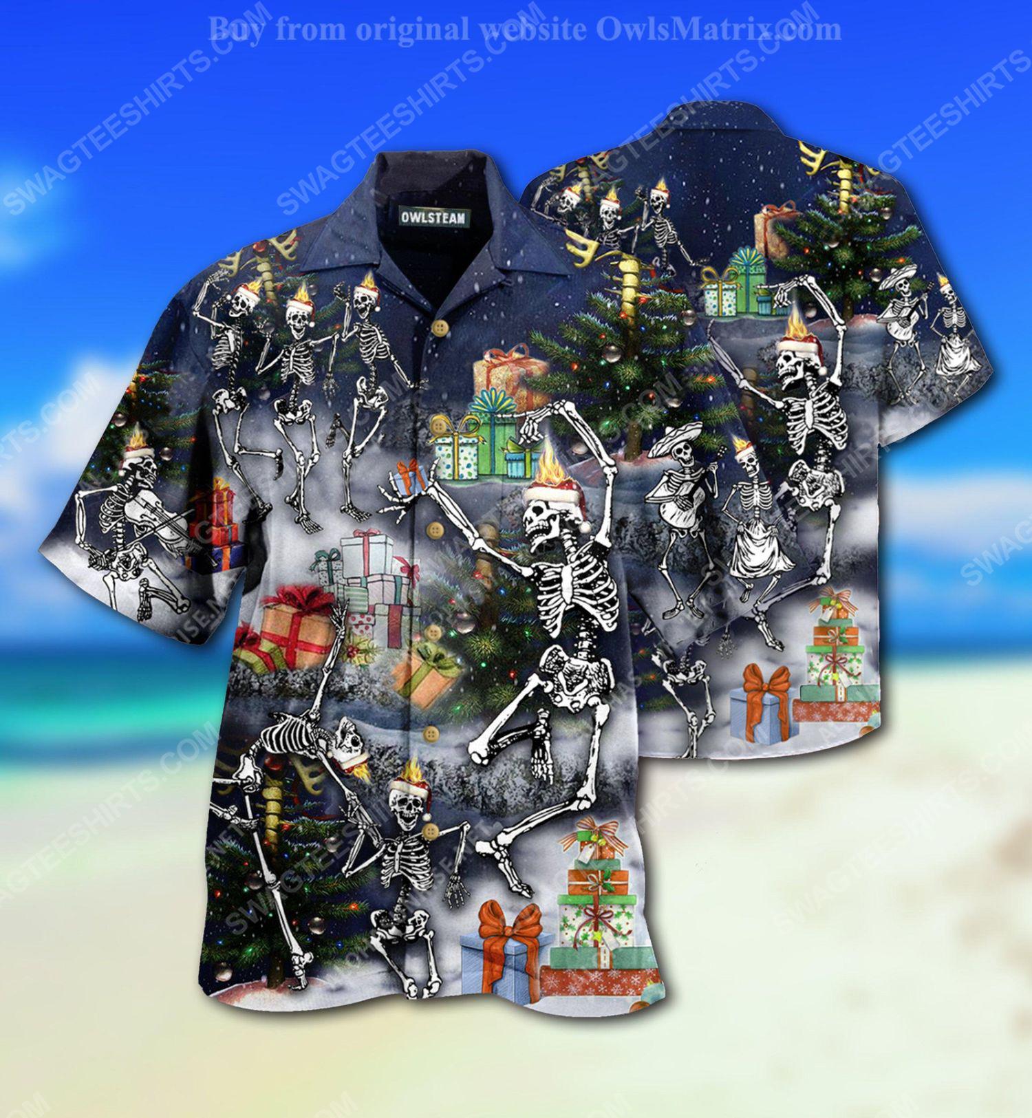Christmas holiday skull dancing full print hawaiian shirt 1 - Copy (2)