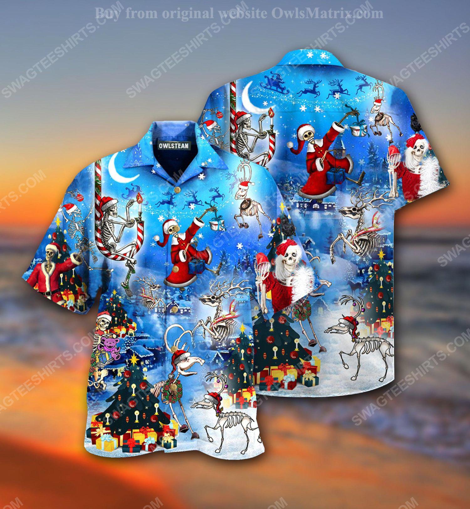 Christmas holiday skull version full print hawaiian shirt 1 - Copy (2)