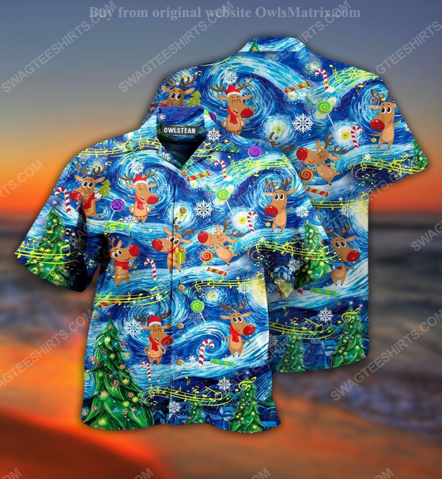Christmas holiday starry night reindeer full print hawaiian shirt 1 - Copy (2)