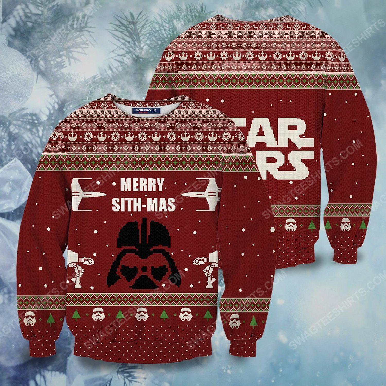 Christmas star wars darth vader merry sithmas ugly christmas sweater 1