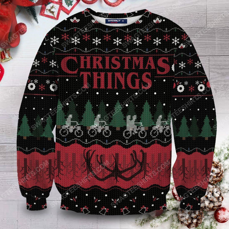 Christmas things stranger things full print ugly christmas sweater 1