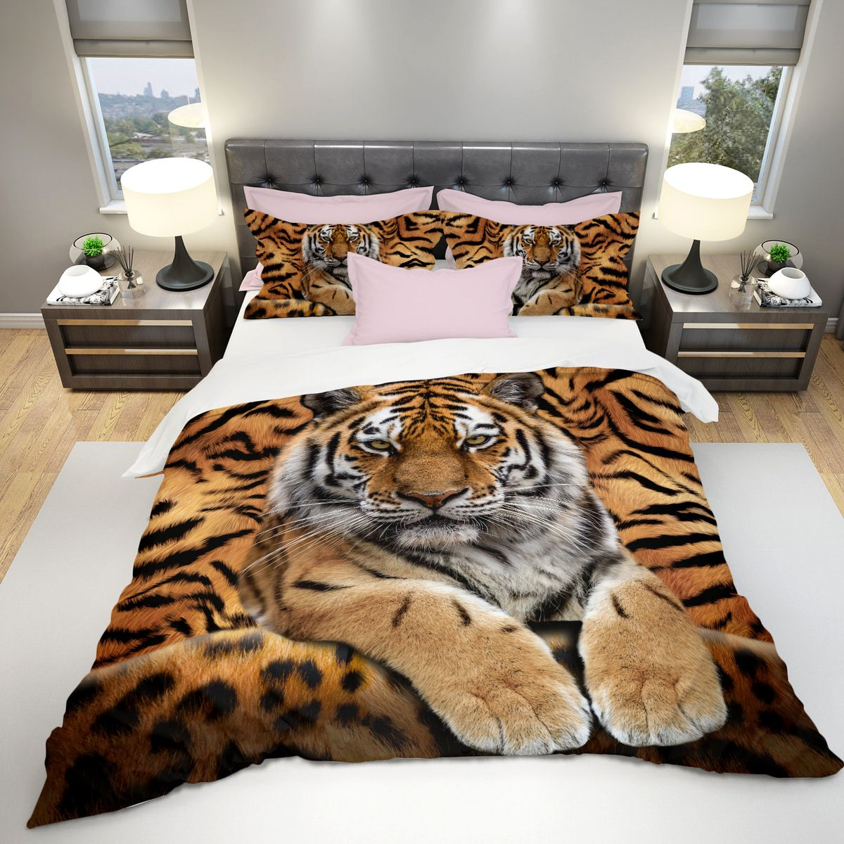 Cool tiger all over printed bedding set