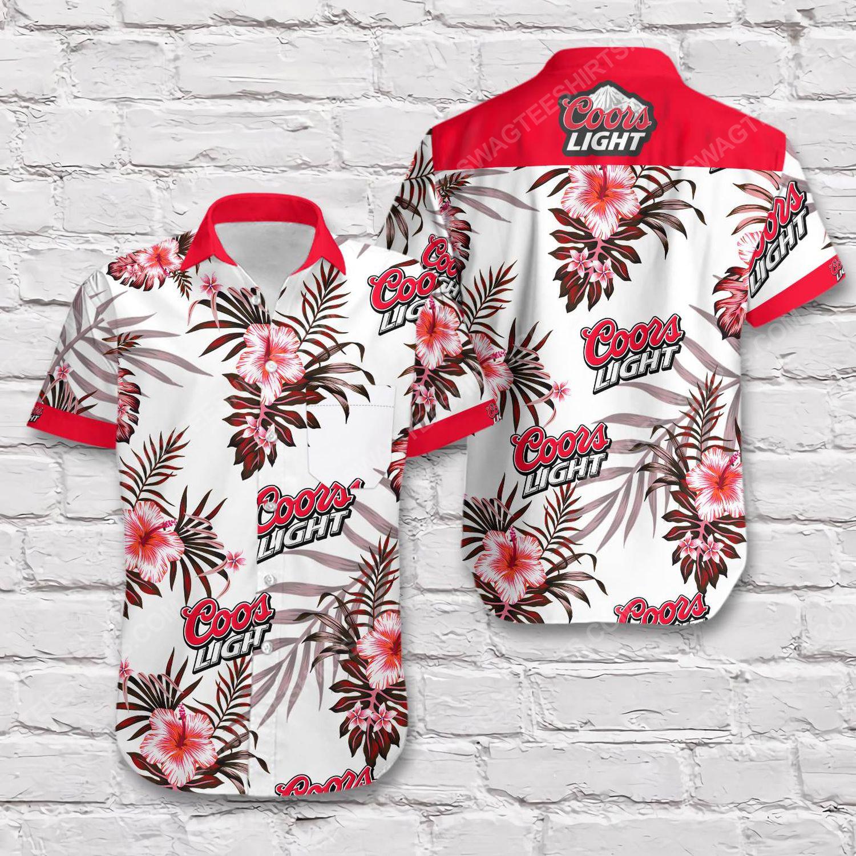 Coors light beer flower tropical short sleeve hawaiian shirt 1