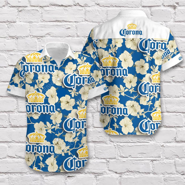 Corona beer blue gold tropical summer short sleeve hawaiian shirt 1