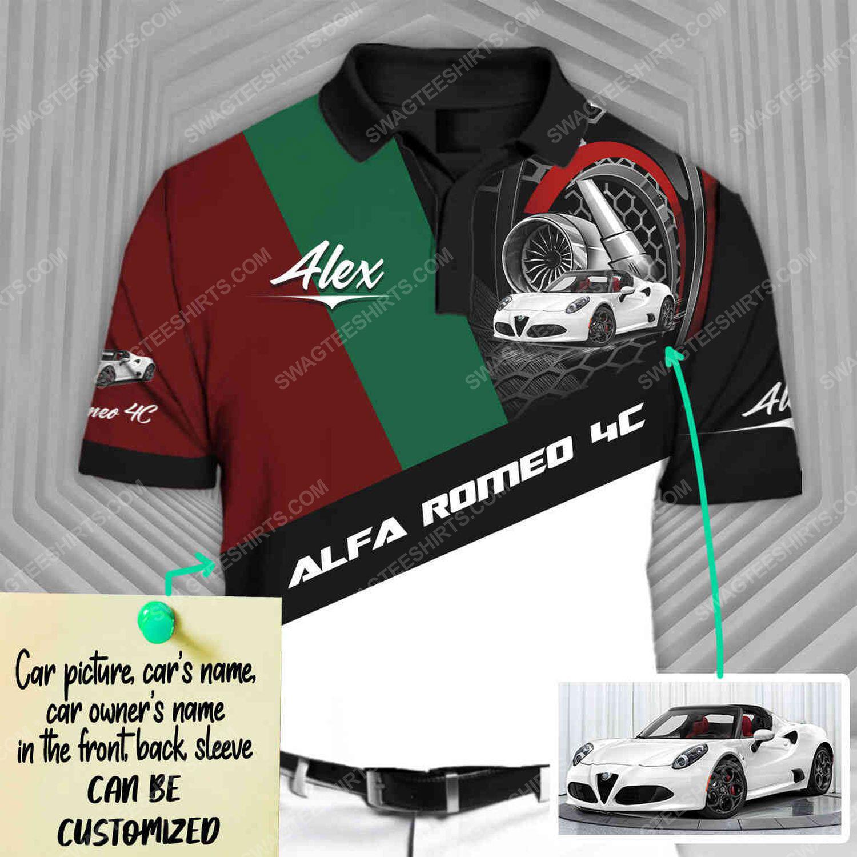 Custom alfa romeo sports car racing all over print polo shirt