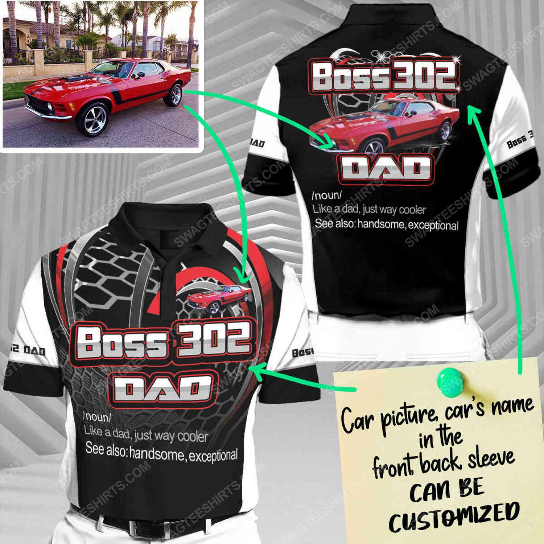 Custom boss 302 dad racing car all over print short sleeve polo shirt