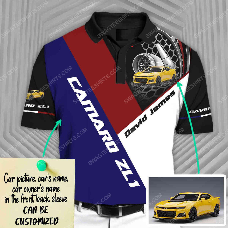 Custom chevrolet camaro car racing all over print polo shirt